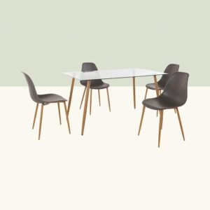 Kaplan Dining Set with 4 Chairs Hykkon Colour (Chair): Anthracite