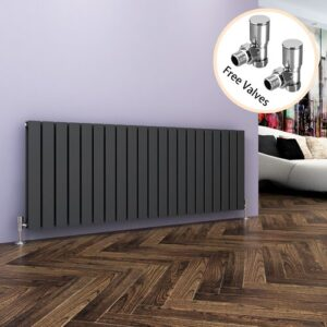 Kootenai Horizontal Designer Radiator Belfry Bathroom Radiator Colour: Black, Size: 600mm H x 1596mm W x 61mm D