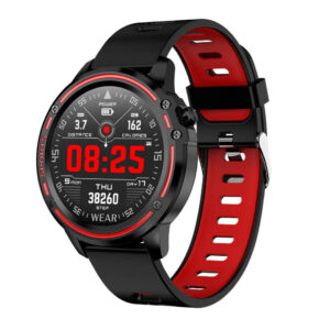 L8 Multi UI Display Full Touch Wristband ECG Blood Pressure Oxygen Monitor Weather Display Smart Watch RED COLOR