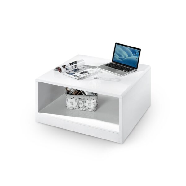 London High Gloss White Square Coffee Table