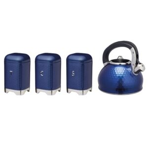 Lovello 4 Piece Coffee, Tea, & Sugar Jar Set with Kettle KitchenCraft Colour: Blue