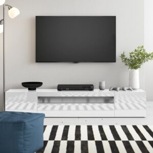 "Mariella TV Stand for TVs up to 88"" Zipcode Design Colour: Glossy White"