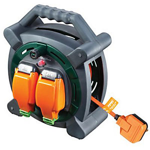 Masterplug Weatherproof Garden Extension Cable Reel - 20m 10A