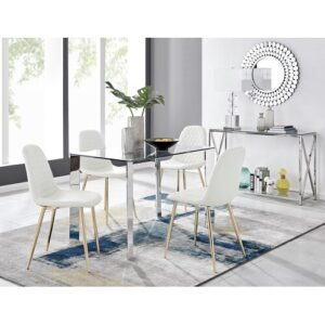 Melva Dining Set with 4 Chairs Metro Lane Colour (Chair): White/Gold