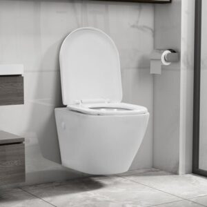 Mencia Wall Hung Toilet with Soft Close Seat Belfry Bathroom Finish: White