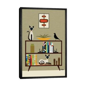 'Mid Century Bookcase with Siamese' by Donna Mibus - Floater Frame Graphic Art Print on Canvas Corrigan Studio