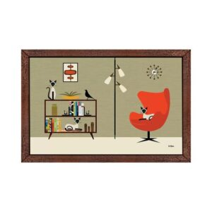 'Mid Century Library with Siamese' by Donna Mibus - Floater Frame Graphic Art Print on Canvas Corrigan Studio