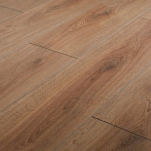 Neston Natural Oak effect High-density fibreboard (HDF) Laminate Flooring Sample