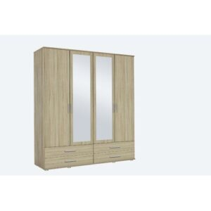 Olpe 4 Door Wardrobe Rauch Finish: White and light brown
