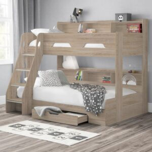 Orion Oak Wooden Storage Triple Sleeper Bunk Bed Frame - 3ft Single Top and 4ft Small Double Bottom
