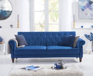Orlando Blue Velvet Sofa Bed