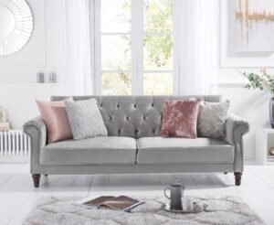 Orlando Grey Velvet Sofa Bed