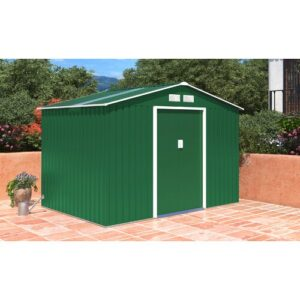 Oxford 9 ft. W x 8 ft. D Metal Garden Shed WFX Utility Colour: Green