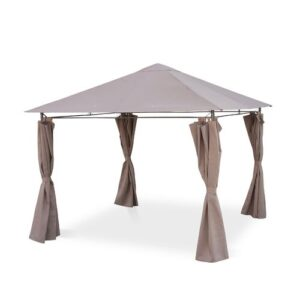 Pelagia 2.9m x 2.9m Steel Patio Gazebo Sol 72 Outdoor Roof Colour: Beige Brown