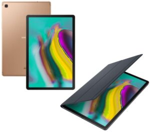 """SAMSUNG Galaxy Tab S5e 10.5"""" Tablet & Book Cover Bundle - 128 GB, Gold, Gold"""