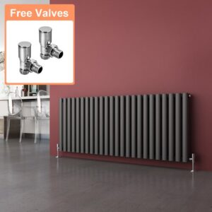 Salinas Horizontal Designer Radiator Belfry Bathroom Radiator Colour: Black, Size: 600mm H x 1416mm W x 82mm D