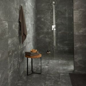 Shaded Slate Anthracite Matt Stone effect Porcelain Floor Tile Sample