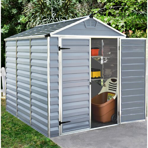 Skylight 6 ft. W x 8 ft. D Plastic Garden Shed Palram Colour: Grey