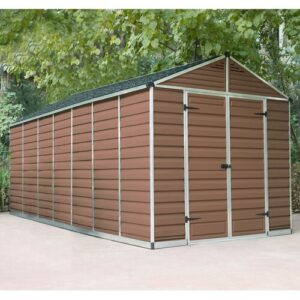 Skylight 8 Ft. W x 20 Ft. D Plastic Garden Shed Palram Colour: Amber