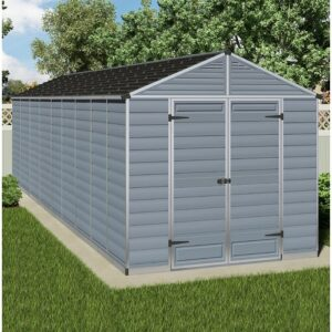 Skylight 8 Ft. W x 20 Ft. D Plastic Garden Shed Palram Colour: Grey
