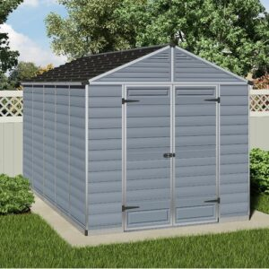 Skylight 8 ft. W x 12 ft. D Plastic Garden Shed Palram Colour: Grey
