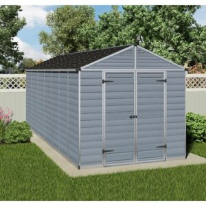 Skylight 8 ft. W x 16 ft. D Plastic Garden Shed Palram Colour: Grey