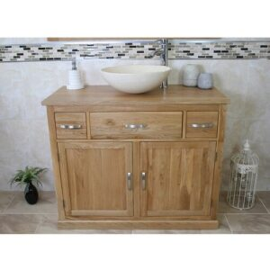 Sofia Solid Oak 1000mm Free-Standing Vanity Unit Belfry Bathroom Sink Finish: Cream