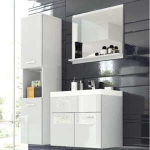 Stockwood 4 Piece Bathroom Furniture Set with Mirror Brayden Studio Colour: White and white high gloss