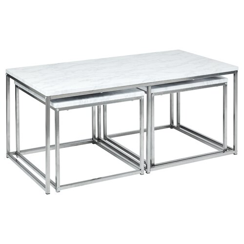 Taradale 3 Piece Coffee Table Set Mercury Row Table Top Colour: Marble, Table Base Colour: Silver