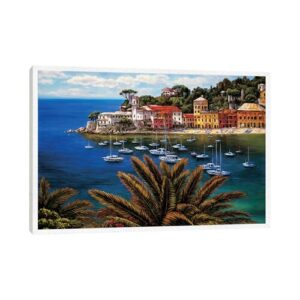 'The Tuscan Coast' by Elizabeth Wright - Floater Frame Graphic Art Print on Canvas Beachcrest Home Size: 66.04cm Hx 101.6cm W x 3.81cm D, Frame Option