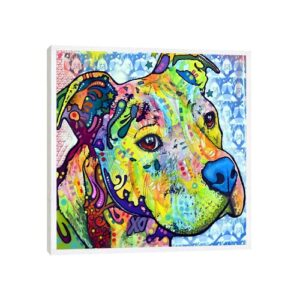 'Thoughtful Pit Bull This Years I' by Dean Russo - Floater Frame Graphic Art Print on Canvas Ebern Designs Size: 45.72cm H x 45.72cm W x 3.81cm D, Fra