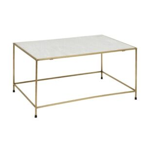 Timeless Coffee Table Nordal Frame Colour: Gold, Tabletop Colour: Cream