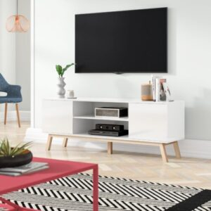 "Torpoint TV Stand for TVs up to 50"" Fjørde & Co Colour: White High Gloss"