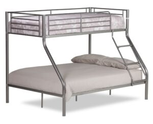 Twin Sleeper Silver Metal Bunk Bed Frame - 3ft Single Top and 4ft6 Double Bottom