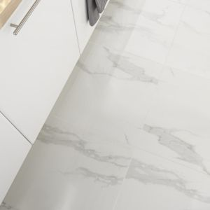 Ultimate White Semi-polished Marble effect Porcelain Floor Tile Sample