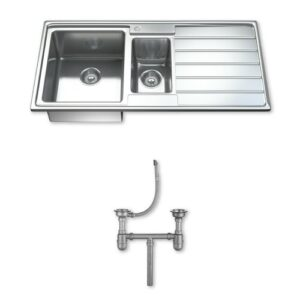 Ultra Modern 97cm x 50cm 1.5 Bowl Inset Kitchen Sink Dihl