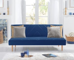 Waldorf Blue Velvet Sofa Bed