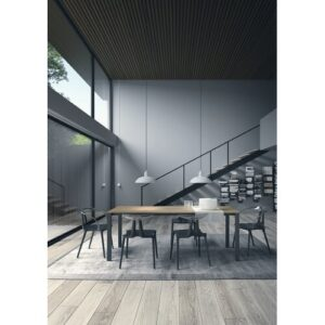 Watson Extendable Dining Table Homemania Size: H75 x L140 x W80cm, Table Top Colour: Oak, Table Base Colour: Anthracite
