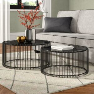 Wire 2 Piece Coffee Table Set KARE Design Colour: Black