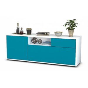 "Wyckoff TV Stand for TVs up to 39"" Brayden Studio Colour: Turquoise / Matte White"