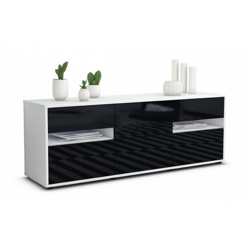 """Wydra TV Stand for TVs up to 39"""" Brayden Studio Colour: High-gloss Black / Matte White"""