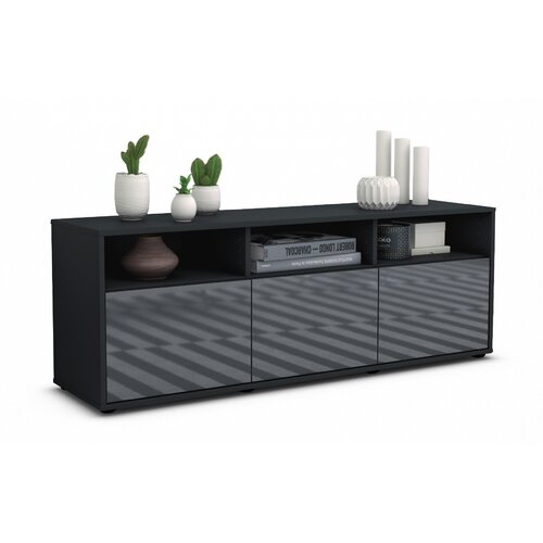 """Wylie TV Stand for TVs up to 39"""" Brayden Studio Colour: High-gloss Grey / Matte Anthracite"""
