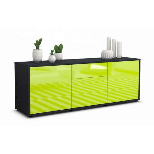 """Wymore TV Stand for TVs up to 39"""" Brayden Studio Colour: High-gloss Green / Matte Anthracite"""