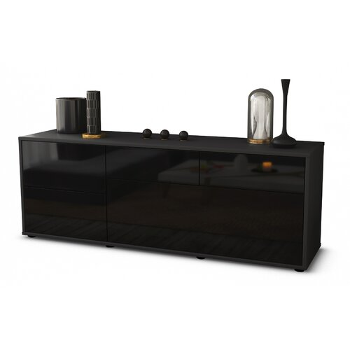 """Yarbro TV Stand for TVs up to 39"""" Brayden Studio Colour: High-gloss Black / Matte Anthracite"""