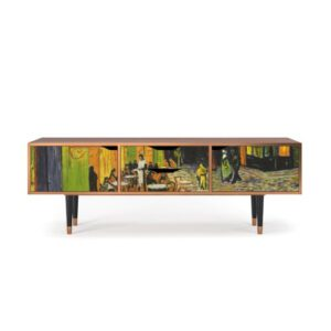 "Zayac TV Stand for TVs up to 70"" Ebern Designs Pattern: Café Terrace at Night"