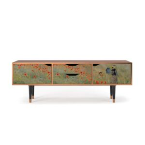 """Zayac TV Stand for TVs up to 70"""" Ebern Designs Pattern: The Poppy Field near Argenteuil"""