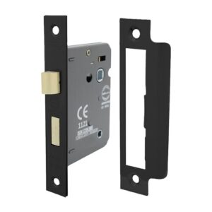 63Mm Shield Ce Certifire Bathroom Lock With Removable Plate Perry Size: 6.3cm H x 5cm W x 1cm D, Finish: Black