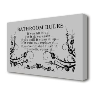 'Bathroom Rules 2' Textual art Print on Wrapped Canvas in Grey/Black East Urban Home