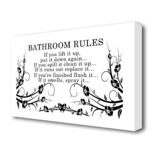 'Bathroom Rules 2' Textual art Print on Wrapped Canvas in White East Urban Home Size: 35.6 cm H x 50.8 cm W