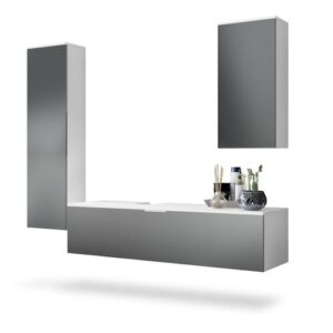 Beach 4-Piece Bathroom Furniture Set Vladon Colour/Finish: Metal/White, mit / ohne LED-Spiegel: Does not feature a mirror